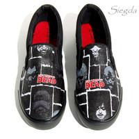 Faces of Death- The Walking Dead Mens shoes- Zombies- AMC- Custom Shoes- Geek Gift- Superfan
