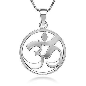 Sterling Silver 24 mm Open Aum Om Ohm Sanskrit Symbol Yoga Charm Pendant Necklace 18''