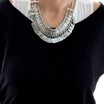 Bohemian Gypsy statement chocker necklace Vintage Tribal inspired necklace made of Alloy silver Free people style summer jewelry by Inali