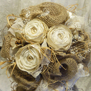 Rustic Ranunculus Bridal Bouquet, handmade of satin, silk, sheer, lace, burlap, twine, raffia and twigs.