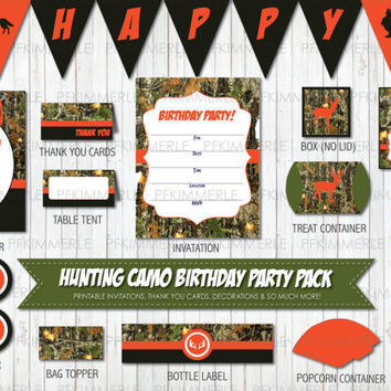 Hunting Party Theme, Hunting Pendant Banner, Birthday Party Decorations, DIY Party,  Camo Party, Hunting Decoration