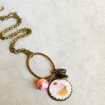 Cupcake necklace, tea time necklace, gift for foodie, charm necklace