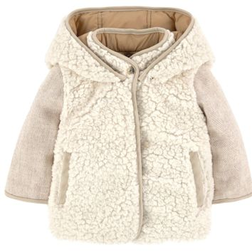 Chloe Girls Fancy Ivory Fur Reversible Jacket