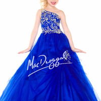 One Shoulder Beaded Sugar Girls Pageant Dress 48150S