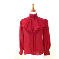Vintage Ruffle Collar Blouse / Red Blouse / Geometric Print / Ascot Blouse / Button Up Shirt / Womens Top S