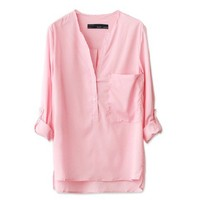 Pink Collar Solid Color Armbands Cuff Shirt from Showmall