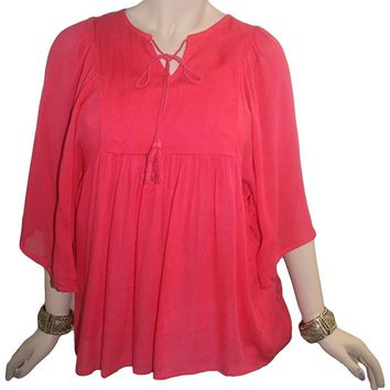 Rayon crape Bohemian Medieval Embroidered Tunic Blouse