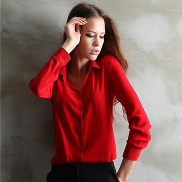 Women Shirt Loose Turn-down Collar Long Sleeve Chiffon Ladies Blouse Work Wear
