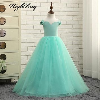 HighBuy Charming Aqua Ball Gown V Neck Flower Girl Dresses 2017 Lovely Tulle First Communion Dresses for Girls Formal Party Gown