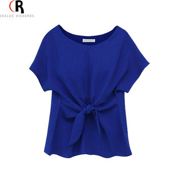 2016 Women Blouse Top Short Sleeve Front Tie Bowknot Casual Cute Blouse Blusa Feminina 3 Colors Summer Style Fashion