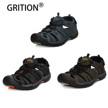 GRITION Mens Outdoor Close Toe Loop Sandals Sport Hiking Sandals Quick Dry Protective Toecap Beach Sandals