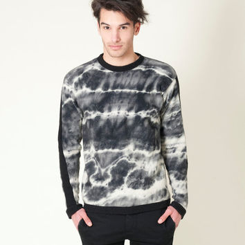 Marble Sweater, black and white mens girls unisex, knitted merino wool felted by Texturable