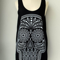 Skull Women tank top - Tunic Shirt Top Tunic Unisex Shirt White Ancient Art Skull  Vest Women Sleeveless Singlet Black  Size M L