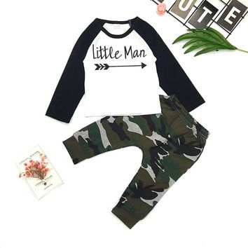 """ Little Man "" Shirt and Camo Pants"