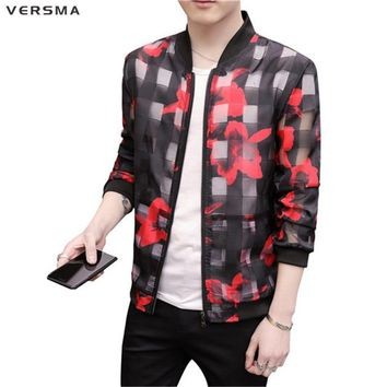 Trendy VERSMA New Summer Men Flame Printed Black Waterproof Bomber Jacket Coat Men Vintage Zipper Transparent Biker Mens Jackets Coats AT_94_13