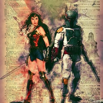 Custom art Wonder Woman and Boba Fett on Faux dictionary page, love definition