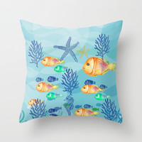 Decorative Throw Pillow Cover - Different sizes to Choose From, Square, Rectangular, Double-sided print, Indoors, Outdoors, Pattern, Fish