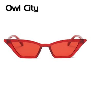 Clear red Vintage Sunglasses Women Cat Eye Luxury Brand Designer Sun Glasses Retro Small Red ladies Sunglass Black Eyewear oculos