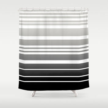 Bay Ombre Stripe: Gray Black Shower Curtain by Eileen Paulino