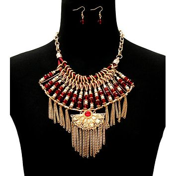 Gold Chain and Bead Bib Featuring Gold Fan Detail and Gold Tassels Necklace Set