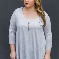 Wintry Nights Plus Size Tunic in Grey