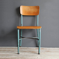 Child's Metal & Wood School Chair Pair Available by OceanSwept