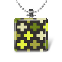 Plus sign necklace positive cross pattern glass tile pendant positive thinking retro abstract design scrabble size mod art forest green