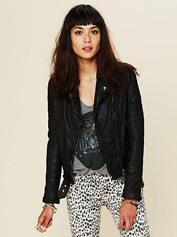 Free People Quilted Leather Jacket