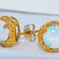 14Kt Yellow Gold Opal Round Diamond Stud Earrings