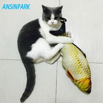 ANSINPARK cat fish toy plush stuffed dog toy fish shaped cat toy scratching Lovely Pet cats catnip Scratch resistance 1pcs q333