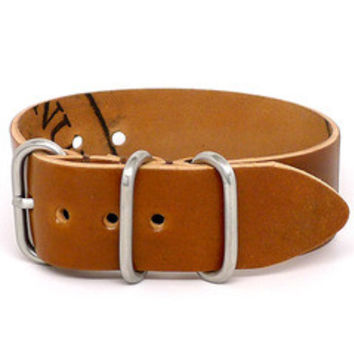 American Made NATO Leather Strap - Shell Cordovan Brandy
