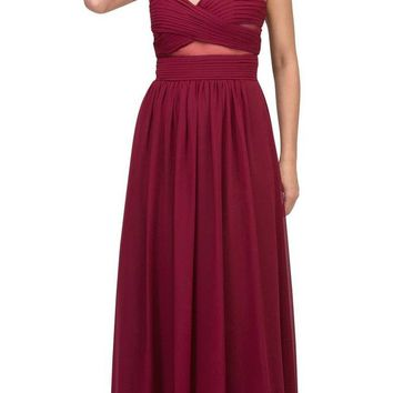 A-line Long Formal Dress Pleated Bodice Burgundy