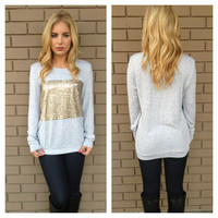 Grey Sequin Block Knit Sweater