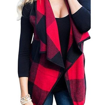 Red Plaid Print Pockets Irregular Turndown Collar Fashion Vest Coat