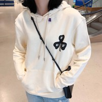 """""""Off-White"""" Casual Fashion Letter Pattern Contrast Color Long Sleeve Hooded Sweater Women Hoodie Tops"""