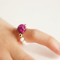 Rogue Skull Ring // purple and white with gold, adjustable --Fairy tale Inspired Accessories