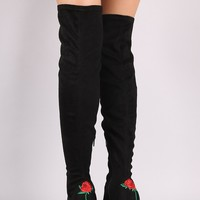 Wild Diva Lounge Rosette Chunky Heeled Suede Over The Knee Boots