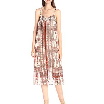 NWT Lucky Brand Printed Tank Midi Dress in Natural Multi, Small