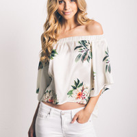 Off-The-Shoulder Floral Sateen Top