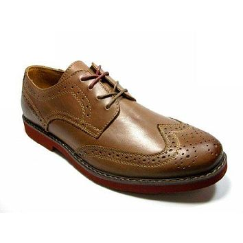 GBX Mens Zevon Lace Up Wing Tip Oxford Light Brown Leather Dress Casual Shoes