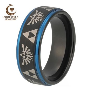 Men Women Wedding Band Black Blue Tungsten Ring With Legend of Zelda Engraved Width 8MM