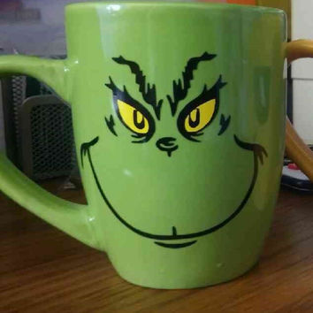 Coffee Mug -Grinch Emoji - Free Name on Back