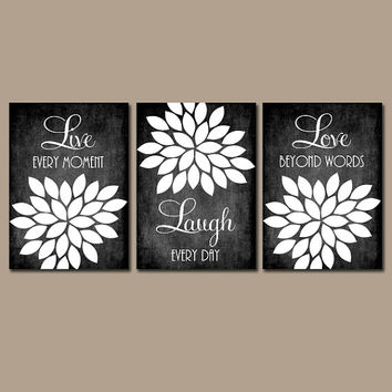 Live Laugh Love Wall Art Quote Chalkboard Black White Nursery Artwork Custom Colors Flower Petals Set of 3 Prints  Bedroom Bathroom Three