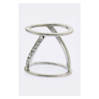 CRYSTAL ALIGNED DOUBLE BAR DESIGN RING - Size 7 - Silver