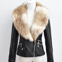 Leather Biker Jacket With Fur Collar