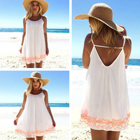 Flowly Boho Embroidered Trim Beach Dress