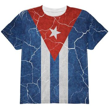 DCCKU3R Distressed Cuban Flag All Over Youth T Shirt