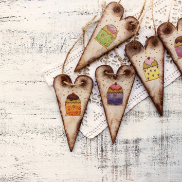 Cupcake ornaments wooden hearts Valentines day decor Valentine gift rustic off white brown sweets wedding favors bridal shower