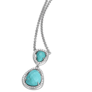 18 in. + 2 in. Turquoise Howlite Double Drop CZ Pendant