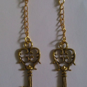 Gold Antique Skeleton Key Charm Earrings by allthingswildandfree